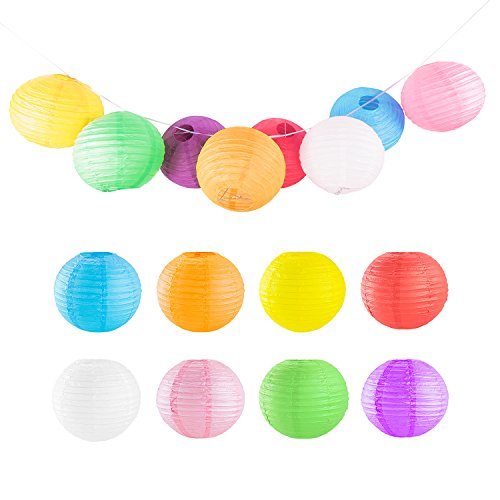 "8"" Colorful Assorted Chinese/Japanese Hanging Paper Lanterns Metal Frame for Home Lamps, Party, Event Decoration (8 Pack)"