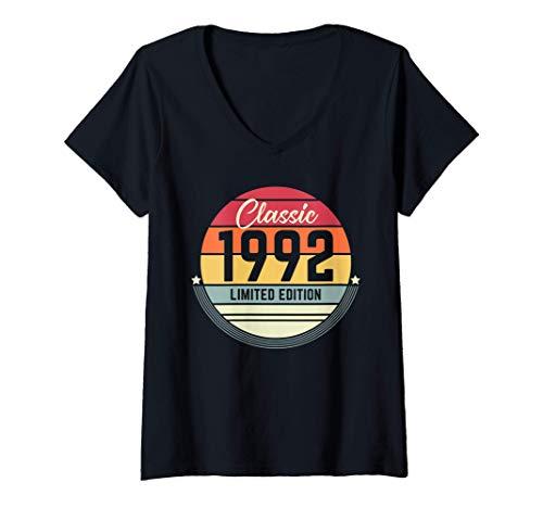Mujer 29 Años Cumpleaños Regalo Mujer Hombre Vintage 1992 Camiseta Cuello V