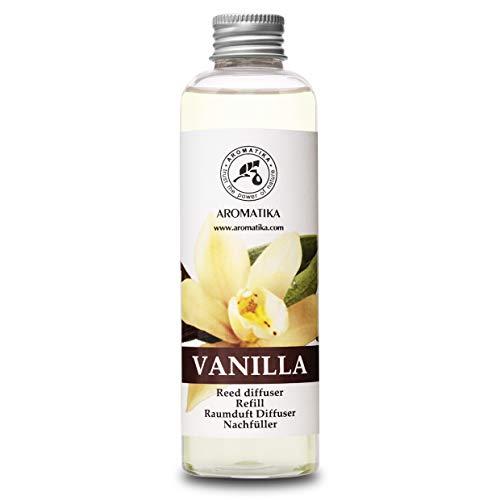 Recambio de Difusor Vainilla 200 ml - Aceite Esencial Puro & Natural Vainilla - Aroma de Intensas y Duraderas - 0% Alcohol - para Aromatizar el Aire en Cuartos - Baños - Hogares - Difusor Aroma