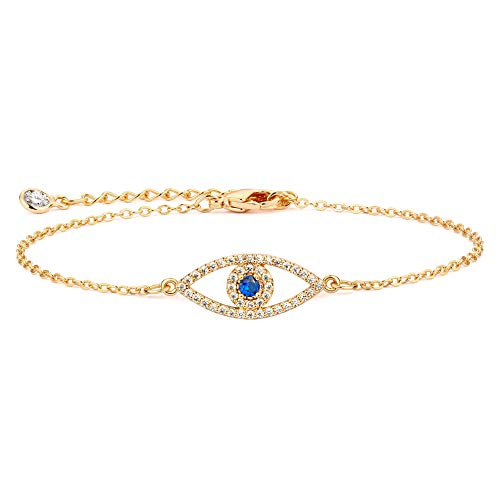 BENEIGE Dainty Gold Evil Eye Bracelet,14K Gold Plated Cute 3 Layered Satellite Beaded Pearls Tiny Charm Boyfriend Bold Bracelet Dainty Handmade Link Bracelet for Women