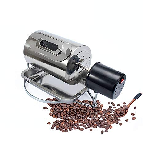 WXH Tostador de café para el hogar, máquina tostadora de Granos de café de Acero Inoxidable, Base sólida Tipo Tambor de Semillas de 40W 250G, para Principiantes