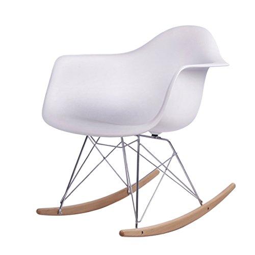 PLL kunststof schommelstoel vrije tijd volwassenen slaapkamer studie enkel balkon rest armleuning stoel ijzer houder massief houten voet seat