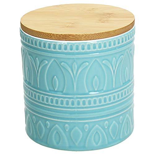 Tognana Vorratsdose Relief Avio, 700 ml, 12 cm hoch, Keramik, blau mit wundervoll gearbeiteter Struktur und einem tollen Dekor