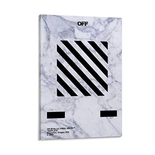 ZXCQWE Off White Black Marmor Leinwand Kunst Poster und Wandkunst Bilddruck Moderne Familienzimmer Dekor Poster 24x36inch(60x90cm)
