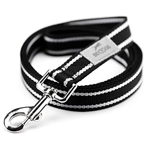 BedDog® Hundeleine Emma, verstellbar in 3 Längen, Doppel-Leine, Führ-Leine, Lauf-Leine, mittel-große und große Hunde, Gesamtlänge 2m - schwarz/neon