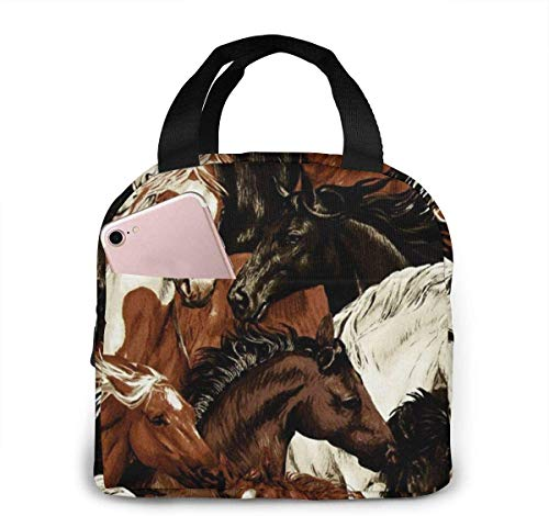 Bolsa de almuerzo con cabeza de caballo blanco y marrón, bolsa de almuerzo reutilizable, bolsa de viaje Bento con cordón, bolsillo frontal