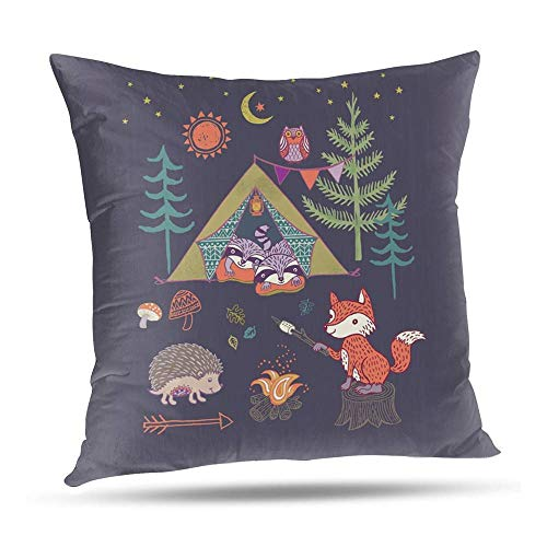 SeNMYlaO WOODLAND FOX CAMPOUT Pattern Pillow Sofa Throw Cushion Cover Pillow Case with Hidden Zipper Closure 55x55 cm 22x22 Inch A'#003