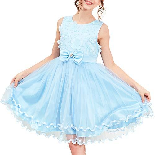 Vestido para niña Flor Azul Dama de Honor Boda Pageant 9-10 años