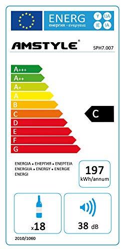 AMSTYLE Weinkühlschrank 48 Liter 35,5x64,5x50cm Getränkekühlschrank 2 Zonen | Design...