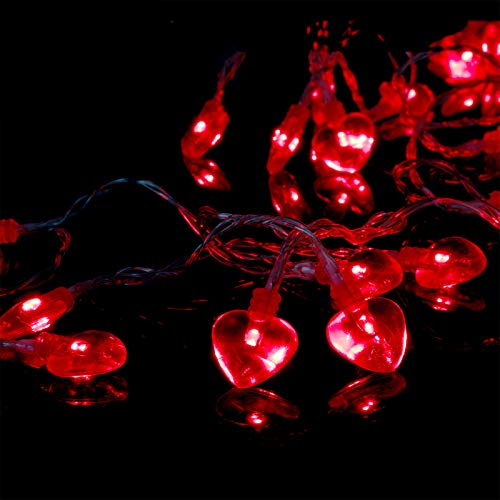 14.5ft 40LED Valentines Day Decorations String Lights, Heart Shape Valentines Day Decor for Indoor Outdoor Home Room Party Wedding Hanging