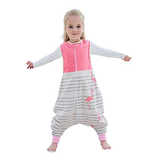 MICHLEY baby schlafsack mit Füßen, mädchen und Junge Schlummersack mit Beinen Vierjahreszeiten,Rosa 1-3 Jahre