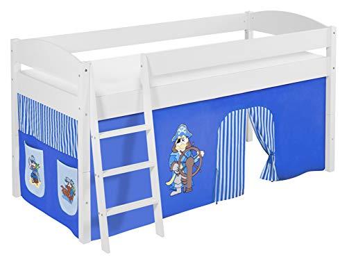Lilokids Lit Mezzanine IDA 4105 Pirat-Bleu-Rayures - Système de lit évolutif Convertible Blanc - avec Rideau