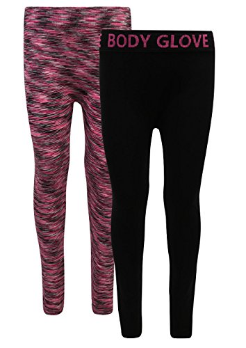 Body Glove Girl's 2 Pack Athletic Stretch Active Leggings, Pink, 10/12'