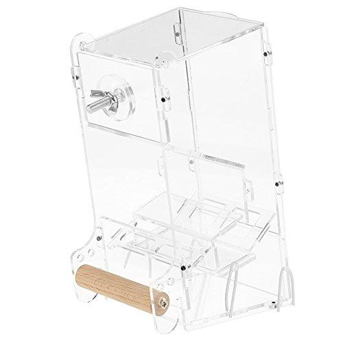 鳥 自動給餌器 透明 ネジ固定 おしゃれ アクリル材料 簡単組み立て 鳥用フードフィーダー 餌やり 餌入れ 給餌機 自動餌与え 容器 小型動物 アオハウオ インコ 文鳥 鳥ケージかご内装 汎用(M)