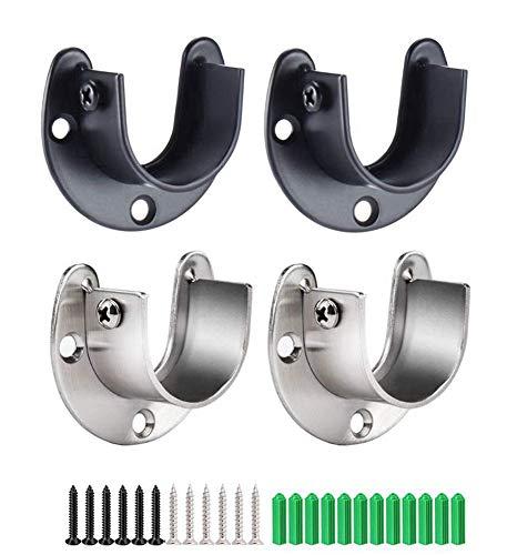 ANDUS 4 Stück U Rundrohr-Halterung für Schrankrohr-Stange, mit Schrauben, U-Form (32 mm), Silber und Schwarz