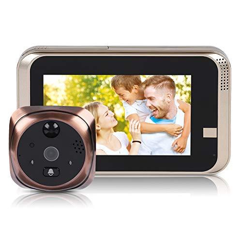 Visor de puerta digital, 720P 4.3inch HD WiFi Visor de mirilla inteligente Soporte de timbre Habla bidireccional, Visión nocturna, Detección de movimiento Intercomunicador impermeable para la segurida