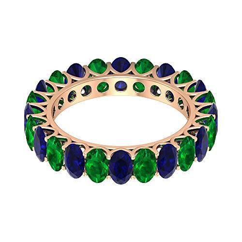 Anillo de boda con zafiro azul de 4,2 ct, 5 x 3 mm, forma ovalada, anillo de esmeralda, anillo de piedra natal de mayo, banda única de eternidad, 18K Oro rosa, Size:EU 49