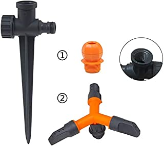 Hylan 2in1 Garden Sprinkler Set Lawn Sprinklers Rotating 360 Degree 3- Arm Rotating Sprinkler with Adjustable Round Sprink...
