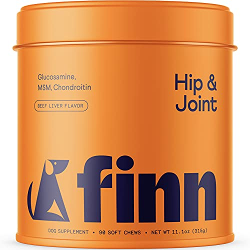 Finn Hip and Joint Supplement for Dogs | Glucosamine  Chondroitin & MSM for Arthritis  Inflammation  and Mobility Support | with Turmeric  BioPerine and B-Vitamins | 90 Soft Chew Treats