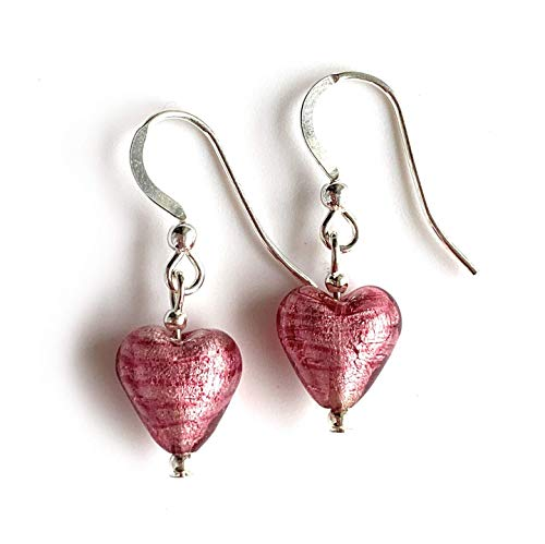 Diana Ingram earrings with rose pink (cerise, fuchsia) Murano glass mini heart drops on Sterling Silver or 22 Carat gold vermeil hooks