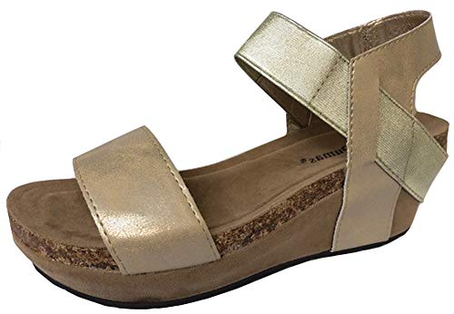 Pierre Dumas Women Low Wedge Chantal 02,Gold,9