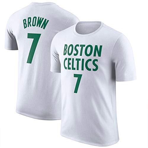 WQWY Marrón 7# Camiseta, 2021 Nueva Temporada de Hombres Celtics Basketball Jersey Nombre y número Manga Corta Baloncesto Chaleco Deportivo L