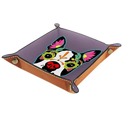 Nachttisch-Tablett aus PU-Leder für Herren mit Schlüssel, Geldbörse, Münzbox, Reisediener, Welpen-Dom