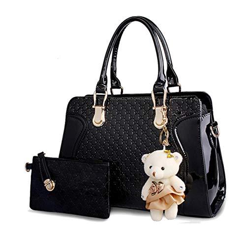 Einzigartiger Damen-Geldbeutel und Handtaschen aus Lackleder für Frauen, Schultertasche, Taschenbücher, mit Tragegriff und Geldbörse, Schwarz (Schwarz Set), Medium