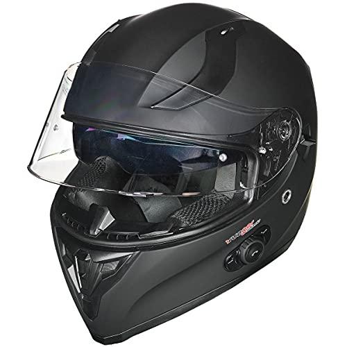 Motorradhelm Integralhelm rueger RT-826 Motorrad Roller Quad Helm, Farbe:Matt Schwarz, Größe:S (55-56)