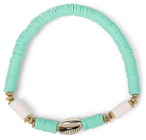 styleBREAKER Dames stretch armband met schelp hanger en parels, elastiek, armband, strand armband, sieraden 05040184