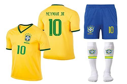 MUSSU Brazil Team Neymar #10 Soccer Jersey-Brasil Short Sleeve Blue...