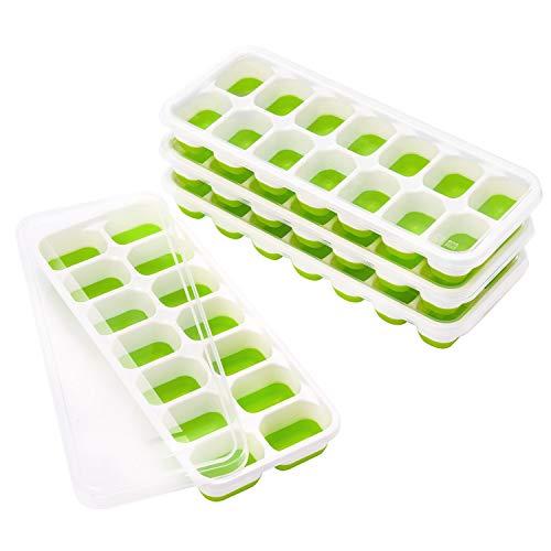 TOPELEK 14-Fach Eiswürfelform 4er Pack Silikon Eiswuerfel Mit Deckel Ice Tray Ice Cube, Kühl Aufbewahren, LFGB Zertifiziert, Grün ( 4er pack )