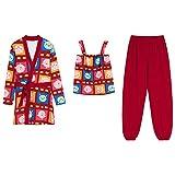 DFDLNL Pijamas de Mujer Ropa de Dormir de Dibujos Animados Lindo Conjunto de Mujer Bata + Tops + Pantalones Pijamas Pijamas de Mujer Traje de algodón para el hogar XXL