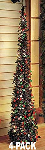 LT2 Affordable, Collapsible 65' Lighted Christmas Trees in Green/red for Small Spaces with...