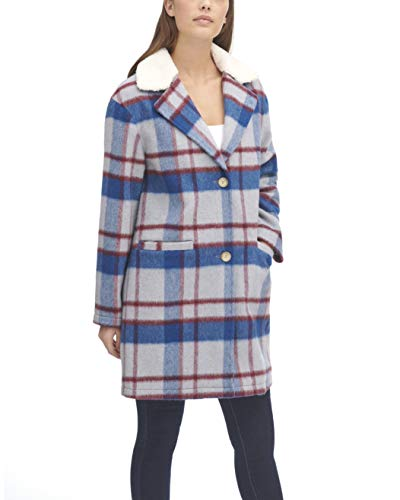 Levi's Women's Wool Plaid Sherpa Collar Top Coat, Blue/White/Red, X-Small
