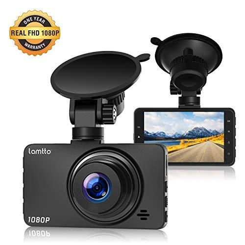 Lamtto Cámara de Coche 1080P Full HD Dash Cam 3 Pulgada LCD Conducir Grabadora 170°Ángulo con WDR, G-Sensor, Detección de Movimiento, Grabación en Bucle, Monitor de Aparcamiento