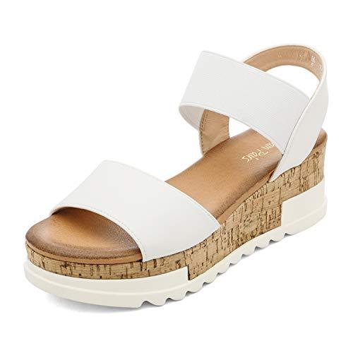 DREAM PAIRS Donna Open Toe Caviglia Elastico Strappy Casual Flatform Platform Sandali, Bianco (bianco), 39 EU