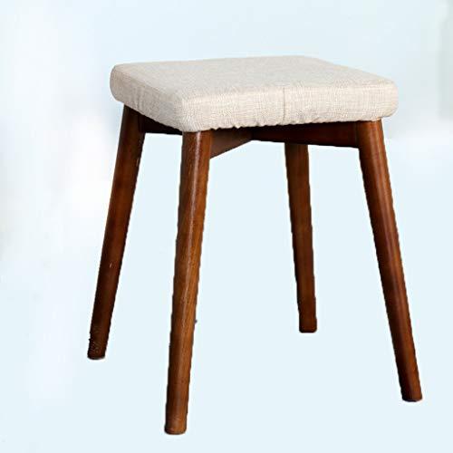 YLCCC Houten dressoir tafel kruk met Beige gevoerde SEAT, grenen 41x31x31cm