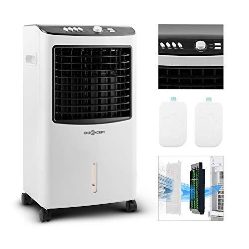 oneConcept MCH-2 V2-3-in-1 mobiles Klimagerät: Luftkühler, Ventilator & Luftbefeuchter, 7 Liter Wassertank, 360 m³/h, 65 Watt, horizontale Oszillation, Bodenrollen, Timer, zwei Kühlakkus, weiß