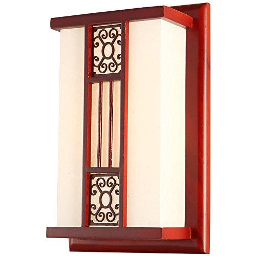 Pouluuo Applique en bois massif salon antique chambre lampe de chevet applique murale couloir hotel/monochrome 35 * 24 * 11cm