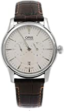 Oris Artelier Automatic Regulator Watch - Mens 40mm Analog Silver Face with Second Hand, Date and Sapphire Crystal - Brown Leather Band Self Winding Swiss Made Luxury Watches for Men 749 7667 4051
