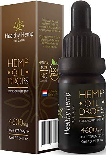 Healthy Hemp Holland, 4600 mg High Strength Hemp Oil drops, Authentic from the Netherlands (10 ml )