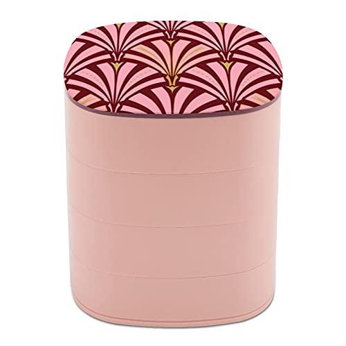 Ruotare il portagioie, scatola portagioie a 4 strati, girevole a 360 gradi, custodia creativa per anelli, orecchini, collane, ciondoli, ciondoli a ventaglio Art Deco, rosa e marrone