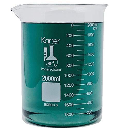 2000ml Beaker, Low Form Griffin, Borosilicate 3.3 Glass, Double Scale, Graduated, Karter Scientific 213D20 (Single)