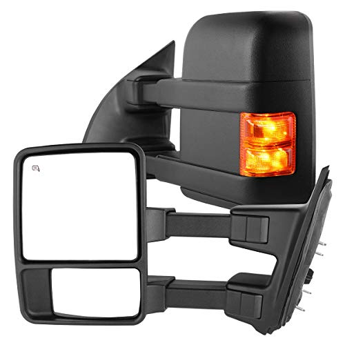 AUTOSAVER88 Tow Mirrors Compatible with 99-07 Ford F250 F350 F450 F550 Super Duty with Turn Signal, Power Heated Telescoping Towing Mirrors Pair