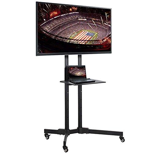 Yaheetech Supporto Staffa per TV Carrello Porta TV con Ruote a Terra Ripiano per Monitor Tv LCD LED Plasma da 32 a 65 pollici, VESA da 200x200 mm a 600x400 mm, Altezza e Angolo Regolabile
