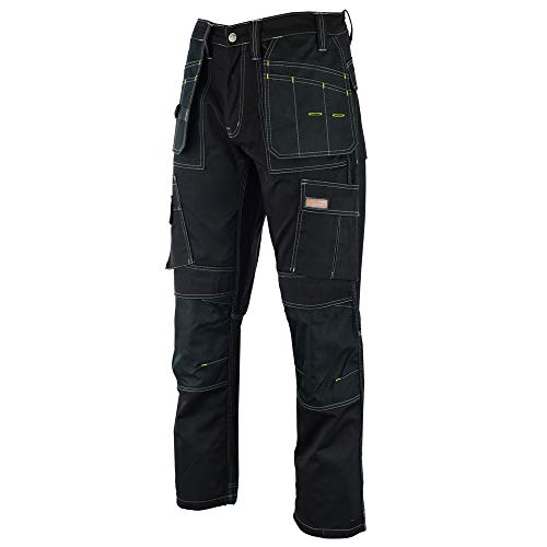 WrightFits Men Pro Builder Work Trouser Black - Heavy Duty Safety Combat Cargo Pants - Multi Pockets - Knee Pad Pockets - Triple Stitched - Durable Workwear