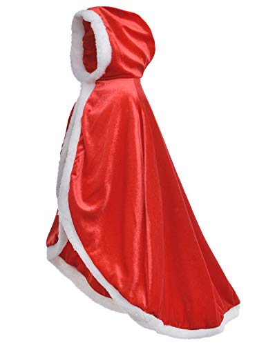 Little Red Riding Christmas Fur Princess Cape Hood Cloaks Costume for Girls 10-12 Years(150cm)