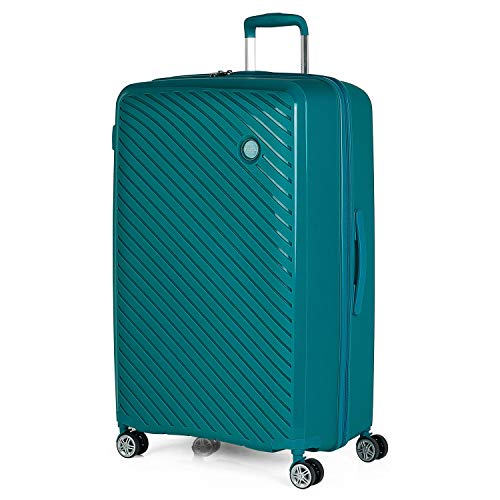 ITACA - Maleta de Viaje Grande 4 Ruedas Trolley 75 cm Rígida de Polipropileno. Práctica Cómoda Ligera y Bonita Marca de Confianza y Estilo. Candado TSA. 760070, Color Turquesa