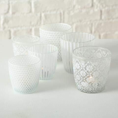 Windlicht Patty, 3 sort., Set 2, Glas, Weiß Set Gesamt: 2 Set; Sortierung: 3 sort.; Glasart: Glas lackiert; Höhe Set: 7-9 cm; Farbe: Weiß; Anwendbarke